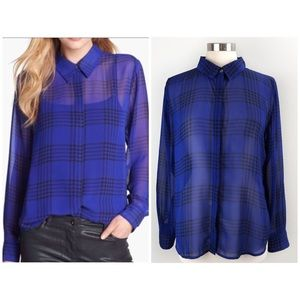 Vince Camuto | Sheer Plaid  Button Up Blouse